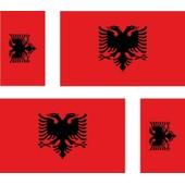 4 X Autocollant Sticker Voiture Moto Valise Pc Portable Drapeau Albanie Albanais
