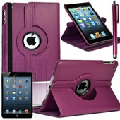 Apple Ipad Mini/ Ipad Mini 2 Retina/ Ipad Mini 3 Retina: Lot Etui Housse Coque Avec Support Et Rotative Rotation 360� En Cuir Pu + 3 Films D'�cran + 1 Stylet Tactile - Violet