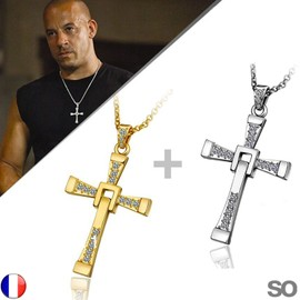 Lot Collier + Pendentif Fast And Furious Croix Dominic Toretto 1 Or + 1 Argent