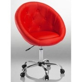 Fauteuil Si�ge Chaise Capitonn� Lounge Pivotant Cuir Synth�tique Rouge 1109017