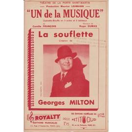 """PARTITION """" UN DE LA MUSIQUE """" LA SOUFLETTE CREATION DE GEORGES MILTON 1937"""