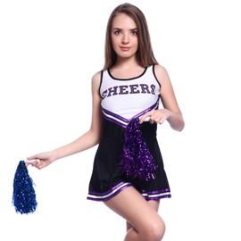 Maboobie S(30-32) Debardeur Robe Avec Pom-Pom Pom Pom Girl Cheer Leaders Cheerleader Costume Deguisement Neuf Cadeau Noel Halloween Carnaval Ecole Ecole High School Noir Violet
