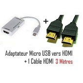 CABLING� MHL to HDMI Adapter - adaptateur vid�o externe Samsung HDTV adapter + Cable HDMI 3M