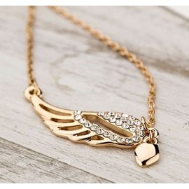 Collier Cha�ne Or/Dor�, Pendentif Aile D'ange, Faux Diamants, Femme, Ajustable Co0006