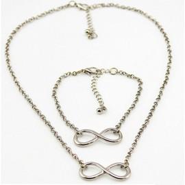 Lot Collier Et Bracelet Cha�ne Or/Dor� Ou Argent�, Pendentif Infini, Femme, Ajustable Co0024