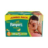 Pampers Baby Dry Taille 3 (4-9kg) 86 Couches