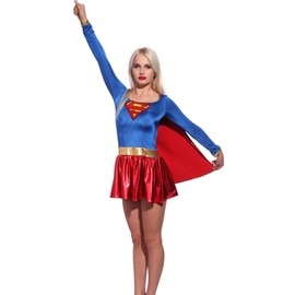 Maboobie S(30-32) Ensemble Halloween Deguisement Tenue Cinema Personnage Super Girl Superman Avec Cape
