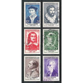 france, 1956, célébrités & personnages célèbres du 15è au 20è siècles, n°1066 à 1071, oblitérés.