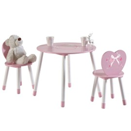 Set Table + 2 Chaises Enfant Butterfly - Blanc / Rose