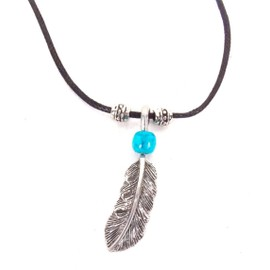 Usa Western - Collier Pendentif Country Plume Indienne Feather - Cordon Cuir # N-2278