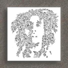 Bob Marley - sa vie raconté dans son portrait façon BD - 20 x 20cm en tirage limité