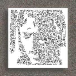 Pink Floyd - David Gilmour - Portrait biographique - Print en edition limitée de 100 - Poster Rock - 20 x 20cm