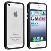Bumper Iphone 5 / 5s Coque Noir Slim Plastique Rigide Souple Silicone Gel Design