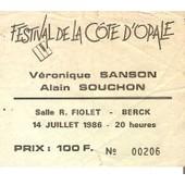 Ancien Billet De Concert Alain Souchon Et Veronique Sanson Le 14 Juillet 1986 � Berck Sur Mer