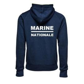 Sweat Capuche Bleu Marine. Marine Nationale.