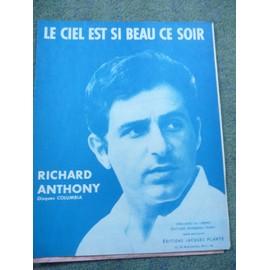 paartition Le ciel est si beau ce soir   Richard Anthony