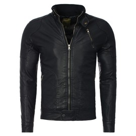 Young And Rich - Veste Courte Simili-Cuir Noir