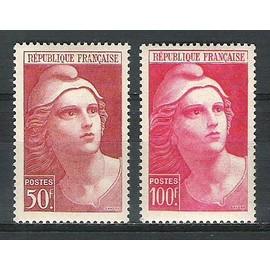 france, 1945-1947, marianne de gandon, n°732 + 733, neufs.