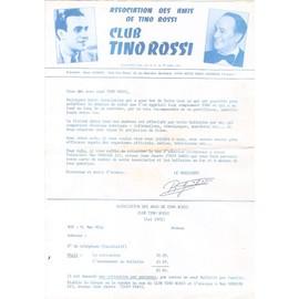 bulletin d'adhésion 20x30cm au fan club des amis de TINO ROSSI années 80