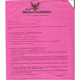 bulletin d'adhésion années 80 imprimé recto verso au fan club MICHEL SARDOU