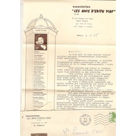 """lettre et enveloppe années 80 du fan club d'EDITH PIAF """" les amis d' EDITH PIAF """""""