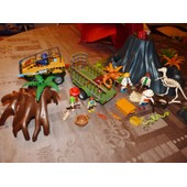 Playmobil Lot Expedition Dinosaures + Vehicules , Et Volcan