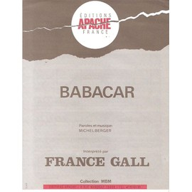 partition FRANCE GALL babacar ANNEES 80 TOP 50