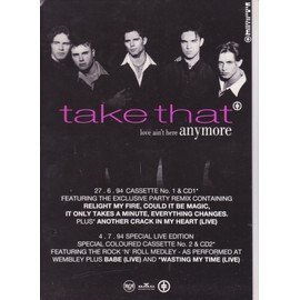 TAKE THAT u.k. PLV love ain't here anymore RECTO 21x30 cm
