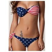 Maillot De Bain 2 Pieces Culotte Sexy Bikini Bandeau Anneaux Dor� Push Up Br�silien Fluo