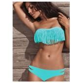 Maillot De Bain 2 Pieces Sexy Bikini Bandeau Frange Push Up Rembourr� Amovible Bresilien