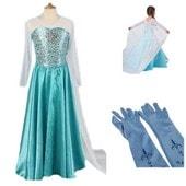 Robe + Paire De Gants Bleu Reine Des Neiges Anna Elsa Paillettes Bleues Princesse Tenue Cosplay D�guisement Bonne Qualit� Black Sugar
