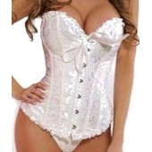Sexy Corset Bustier Guepiere Serre Taille Costume Ensemble Lingerie String Mariage Brod� Femme