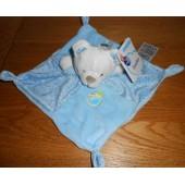 Doudou Plat Ours Ourson Mots D'enfants Leclerc Bleu Blanc Oiseau Plush Comforter Soft Toy Peluche