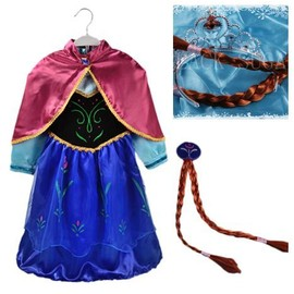 Nouveau Lot Robe + Cheveux Nattes Blondes Ou Marrons Elsa Anna Reine Des Neiges 2 � 14 Ans Tenue Princesse D�guisement Cosplay Bonne Qualit� Boutique Black Sugar