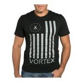 T-Shirt Vortex Vx Flag Noir - Gris Drapeau Us By Ma�tre Gims