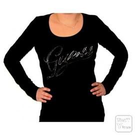 T-Shirt Guess Femme Manches Longues Noir Col Rond