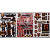 Planche Autocollant Stickers Monster Energy Orange - Lot De 3