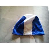 Bonnet De Bain Natation Enfant En Polyester Blanc/Bleu