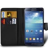 Housse Etui Coque Portefeuille Noir Pour Samsung I9500 I9505 Galaxy S4 Iv + Film De Protection �cran