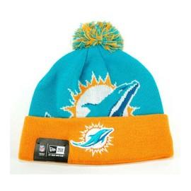 Bonnet Pompon New Era Miami Dolphins Orange - Bleu Wovenbig2