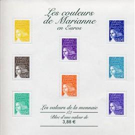 bloc-feuillet 44 - les couleurs de marianne en euros - valeurs de la monnaie 3.88 € - neuf