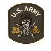 Ecusson / Patch Brode U.S. Army Armee Americaine Skull Tete De Mort Crane Avec Casque De Combat Militaire Camouflage Et Deux Fusils Thermo Collant Airsoft Kza-E705/442306735