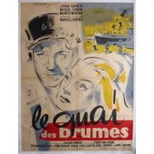 Jean Gabin * Le Quai Des Brumes - Marcel Carne - Film 1938 - Affiche De Cinema Ancienne Entoilee 120*160 Cm - Dessin Hurel - * Movie Poster * Jean Gabin ; Michele Morgan ; Michel Simon