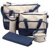 Sac � Langer Kit De 5 Pi�ces Beige + Bleu