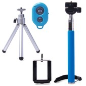 Bleu Extensible Autoportrait Photo Selfie Poche B�ton Manfrotto Avec Le Support De T�l�phone Adajustable Stand + Remote Pour Iphone 6 5s 5 4s; Samsung Galaxy S5 S4 S3 Note 4 Note 3 , Sony Xperia Z3 Z2