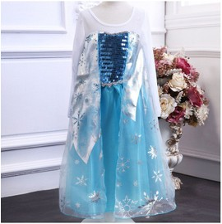 Robe Princesse D�guisement Elsa, La Reine Des Neiges, Cadeau De Fille 2-10 Ans