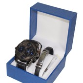 Coffret Montre Homme Gros Cadran Only The Brave Gourmette Acier Inoxydable Stainless Steal