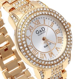 Montre Bracelet Alliage � Quartz Analog Rond Bijoux Luxe Femme Or