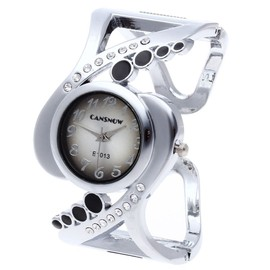 Montre Quartz Jonc Bracelet Ouvert En Alliage Strass D�co Mode Femme Noir