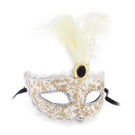 Masque V�nitien Venise Plume Or-Blanc Pour Halloween F�te Spectacle Carnaval